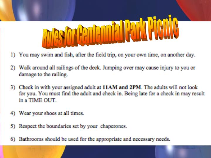 Rules for Centennial Park Picnic
