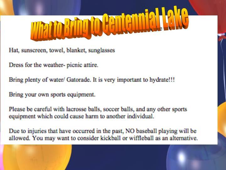 What to Bring to Centennial Lake