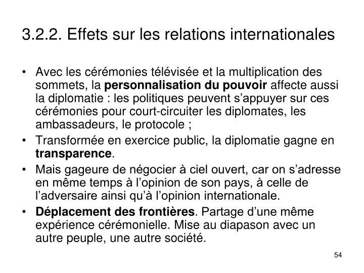 3.2.2. Effets sur les relations internationales