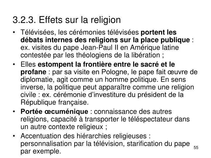3.2.3. Effets sur la religion