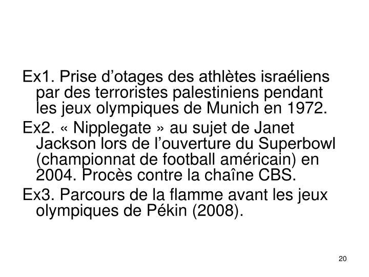 Ex1. Prise dotages des athltes israliens par des terroristes palestiniens pendant les jeux olympiques de Munich en 1972.