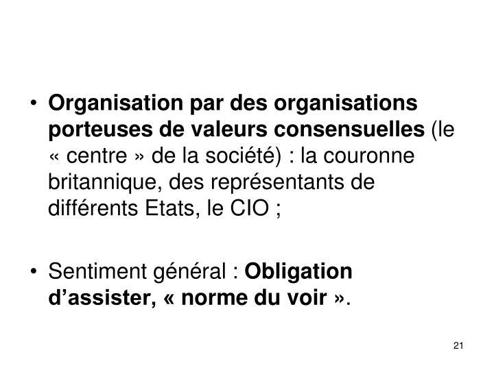 Organisation par des organisations porteuses de valeurs consensuelles