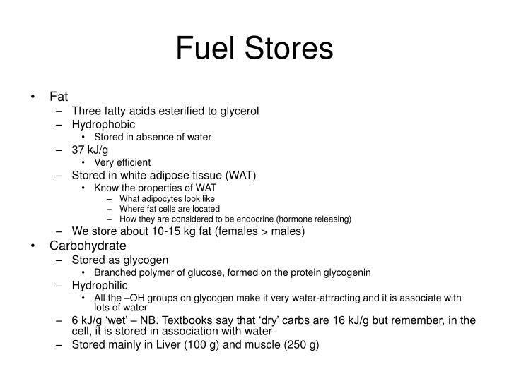 Fuel stores