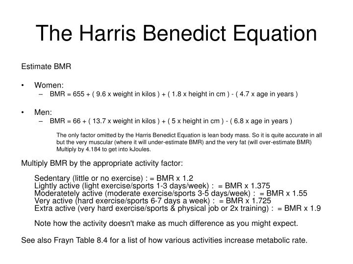The Harris Benedict Equation