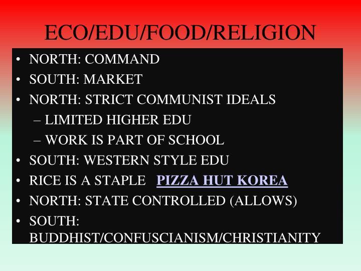 ECO/EDU/FOOD/RELIGION