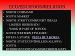 eco edu food religion