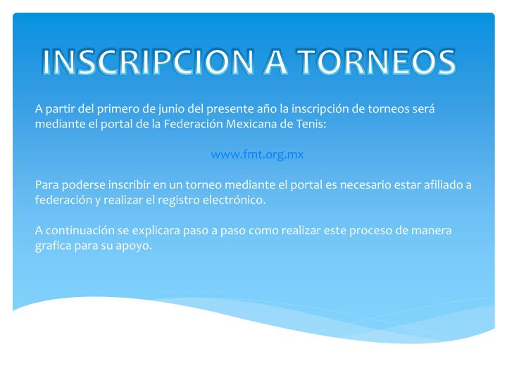 INSCRIPCION A TORNEOS