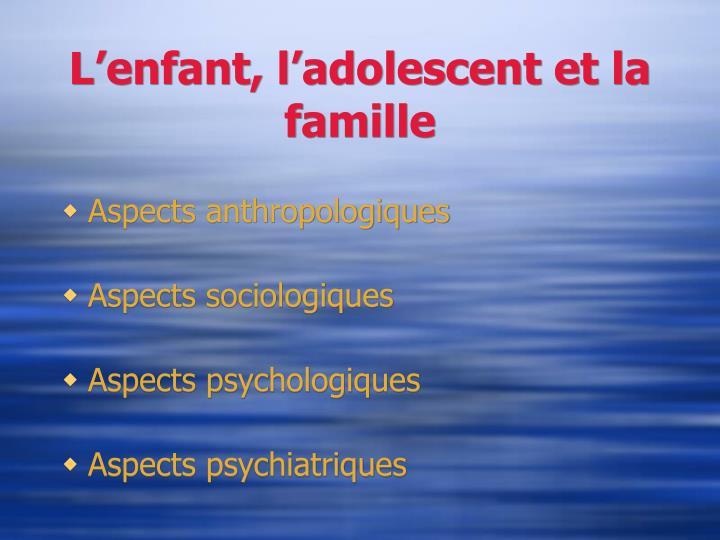 L'enfant, l'adolescent et la famille