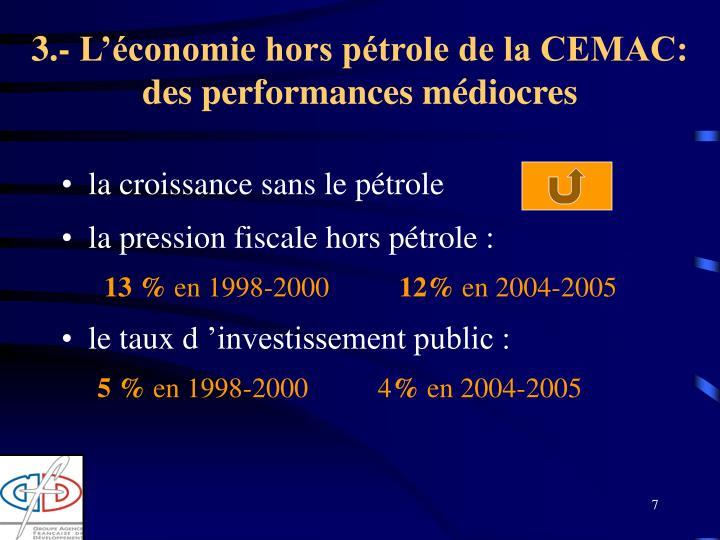 3.- L'économie hors pétrole de la CEMAC: des performances médiocres