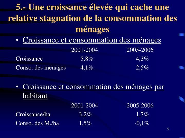 5.- Une croissance élevée qui cache une relative stagnation de la consommation des ménages
