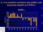 6 les transferts ext rieurs nets publics sont largement n gatifs en cemac mais