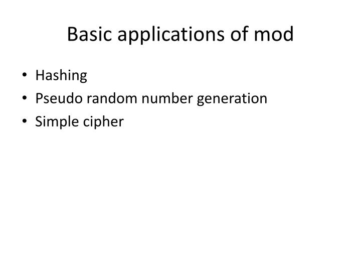 Basic applications of mod