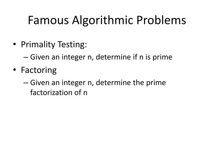 Famous Algorithmic Problems