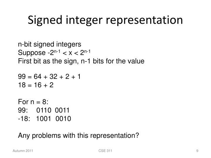 Signed integer representation
