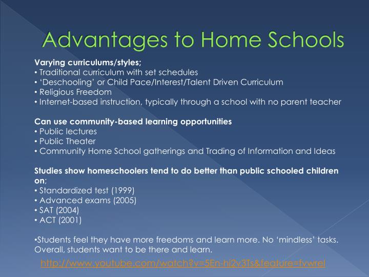 Advantages to Home Schools