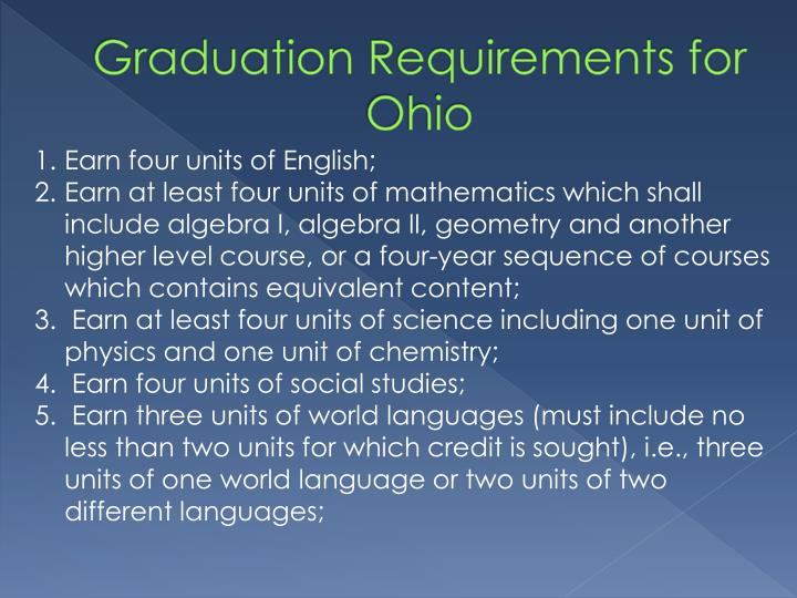 Graduation Requirements for Ohio