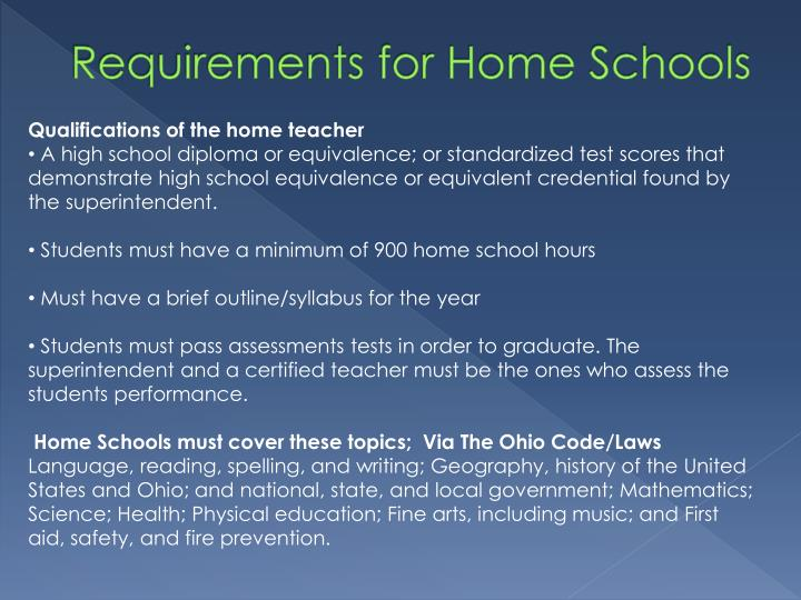Requirements for Home Schools