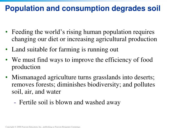Population and consumption degrades soil