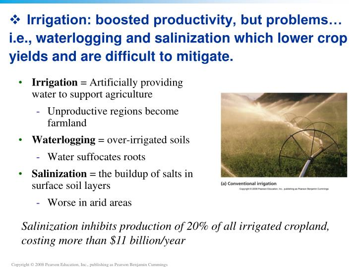 Irrigation: boosted productivity, but problems… i.e., waterlogging and salinization which lower crop yields and are difficult to mitigate.