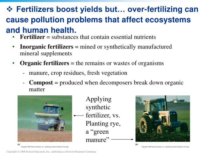 Fertilizers boost yields but… over-fertilizing can cause pollution problems that affect ecosystems and human health.