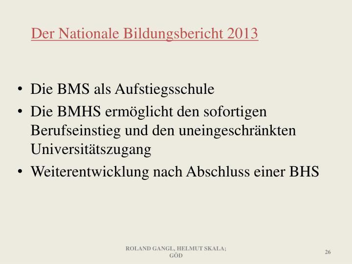 Der Nationale Bildungsbericht 2013