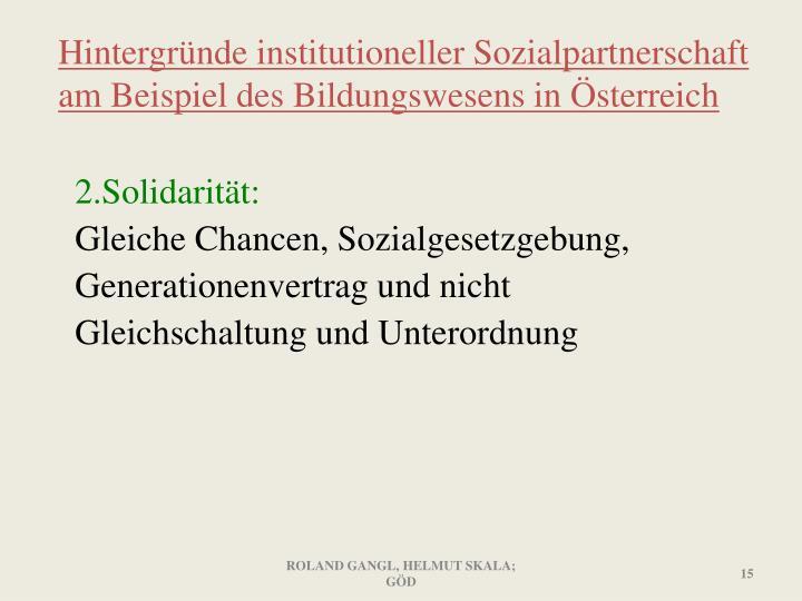 Hintergründe institutioneller Sozialpartnerschaft am Beispiel des Bildungswesens in Österreich