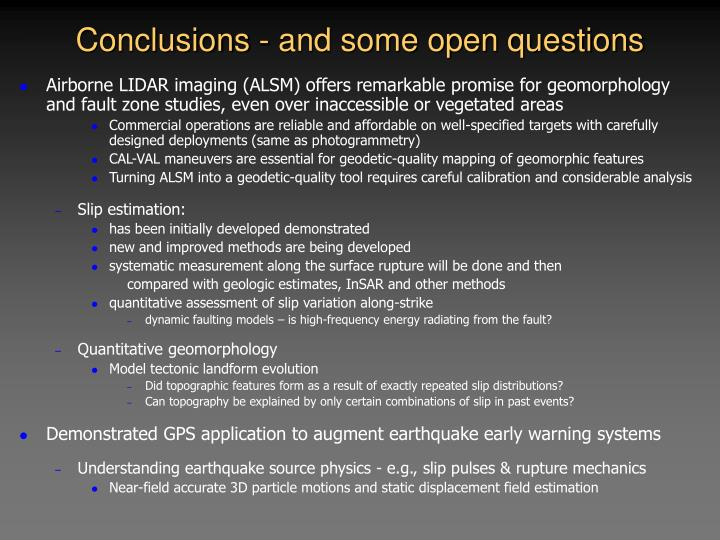 Conclusions - and some open questions
