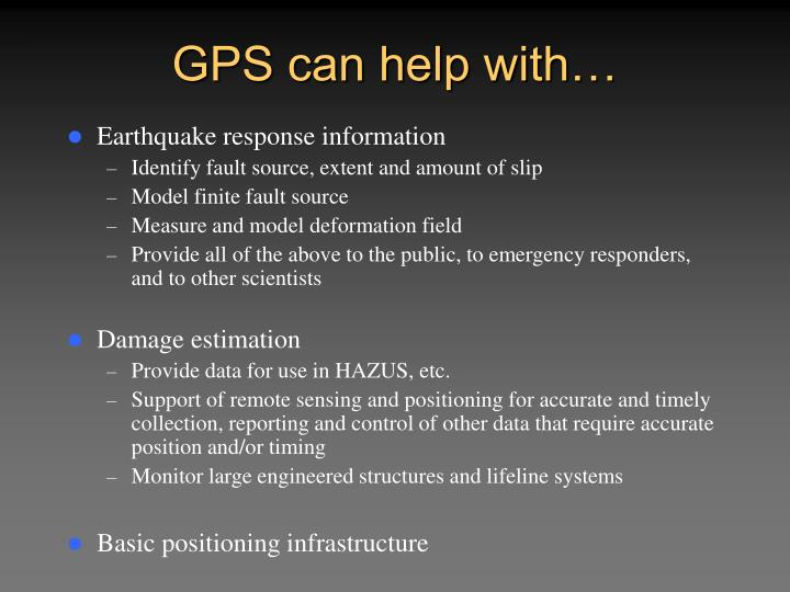 GPS can help with…