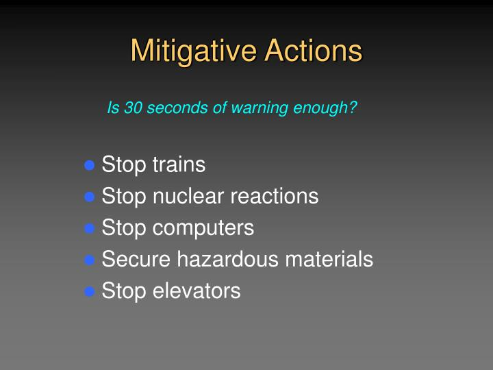 Mitigative Actions
