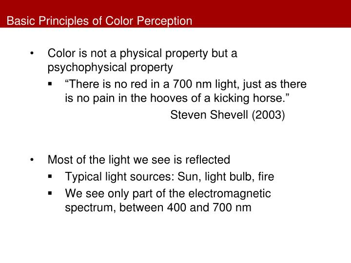 Basic principles of color perception