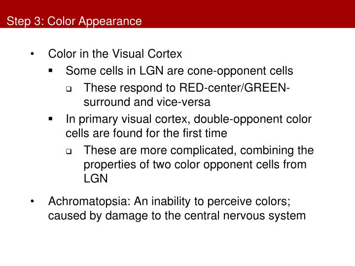 Step 3: Color Appearance