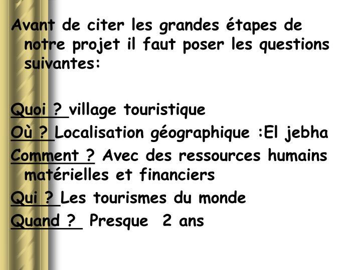 Avant de citer les grandes étapes de notre projet il faut poser les questions suivantes: