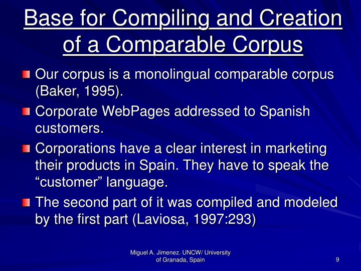 Base for Compiling and Creation of a Comparable Corpus
