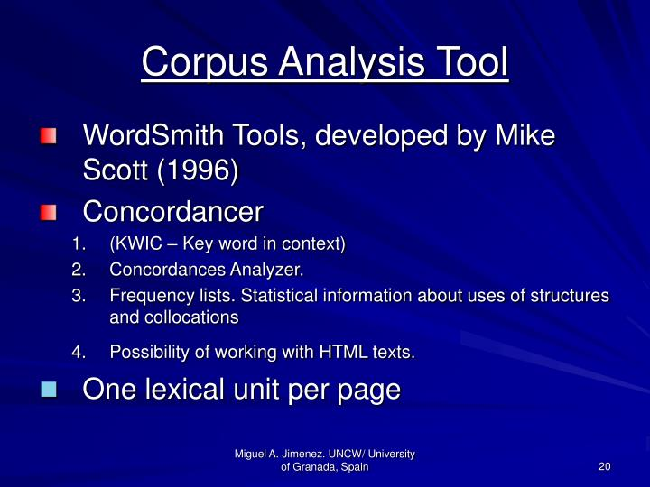 Corpus Analysis Tool