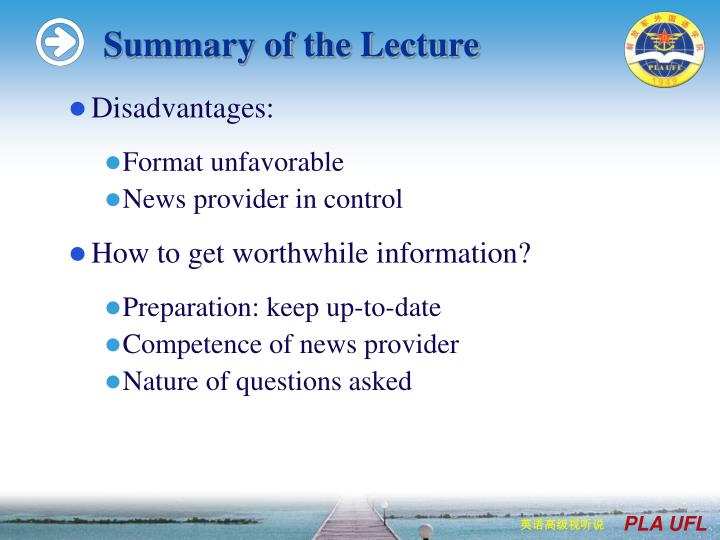 Summary of the Lecture