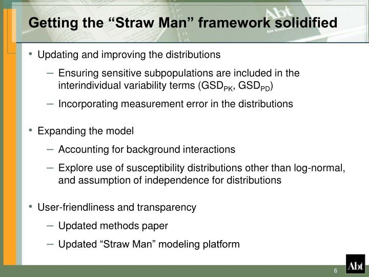 "Getting the ""Straw Man"" framework solidified"