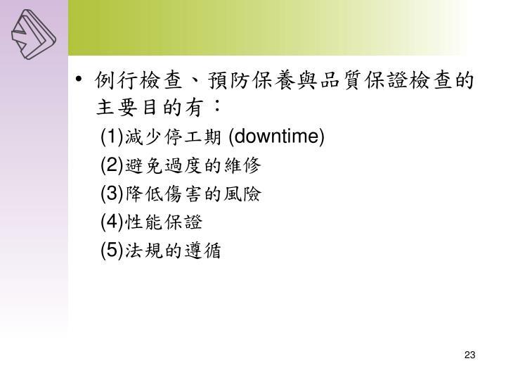 例行檢查、預防保養與品質保證檢查的主要目的有: