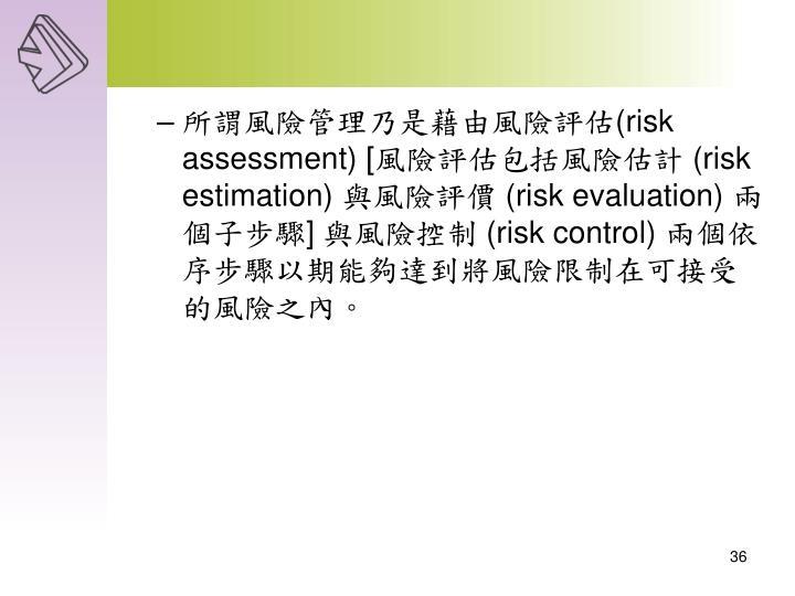 所謂風險管理乃是藉由風險評估