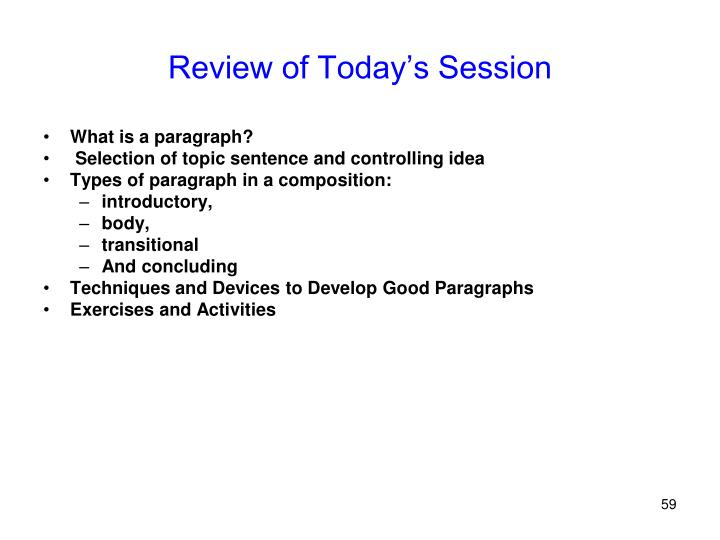 Review of Today's Session