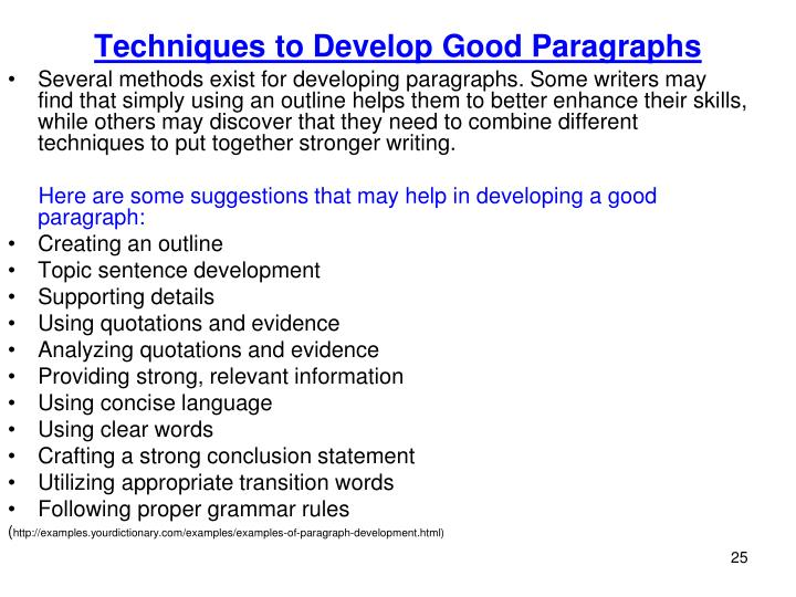 Techniques to Develop Good Paragraphs