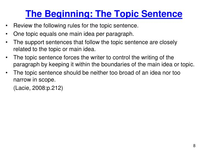 The Beginning: The Topic Sentence