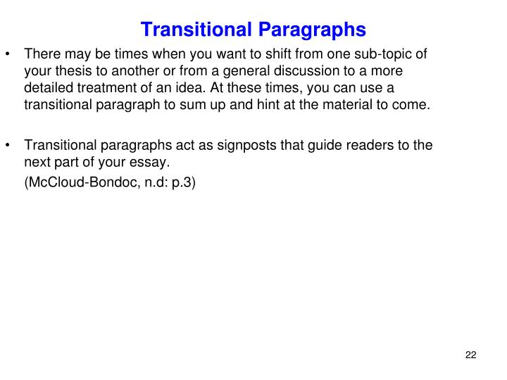Transitional Paragraphs