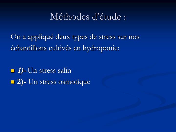 Méthodes d'étude: