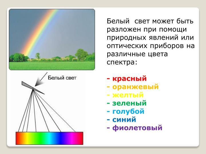 Белый  свет может быть разложен при помощи природных явлений или оптических приборов на различные цвета спектра: