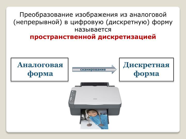 Преобразование изображения из аналоговой (непрерывной) в цифровую (дискретную) форму называется