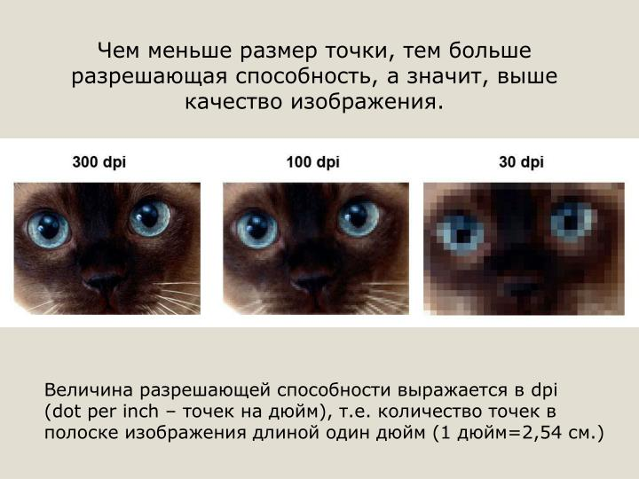 Чем меньше размер точки, тем больше разрешающая способность, а значит, выше качество изображения.