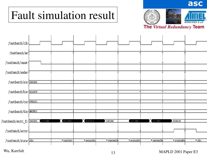 Fault simulation result