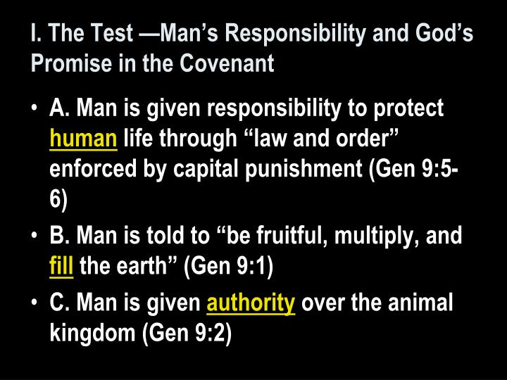 I. The Test —Man's Responsibility and God's Promise in the Covenant