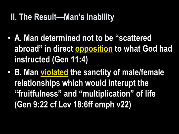 II. The Result—Man's Inability