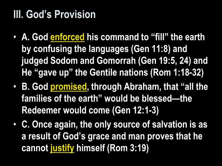 III. God's Provision